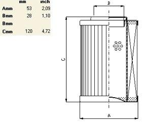 Характеристики гидравлического фильтроэлемента по типу IN LINE до 270 л/мин