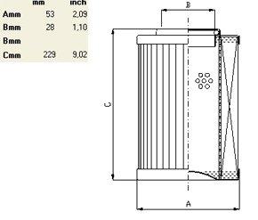 Схема гидравлического фильтроэлемента по типу IN LINE до 280 л/мин