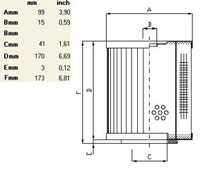 Схема гидравлического фильтроэлемента по типу IN LINE