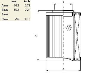 Схема гидравлического фильтроэлемента по типу IN LINE до 800 л/мин